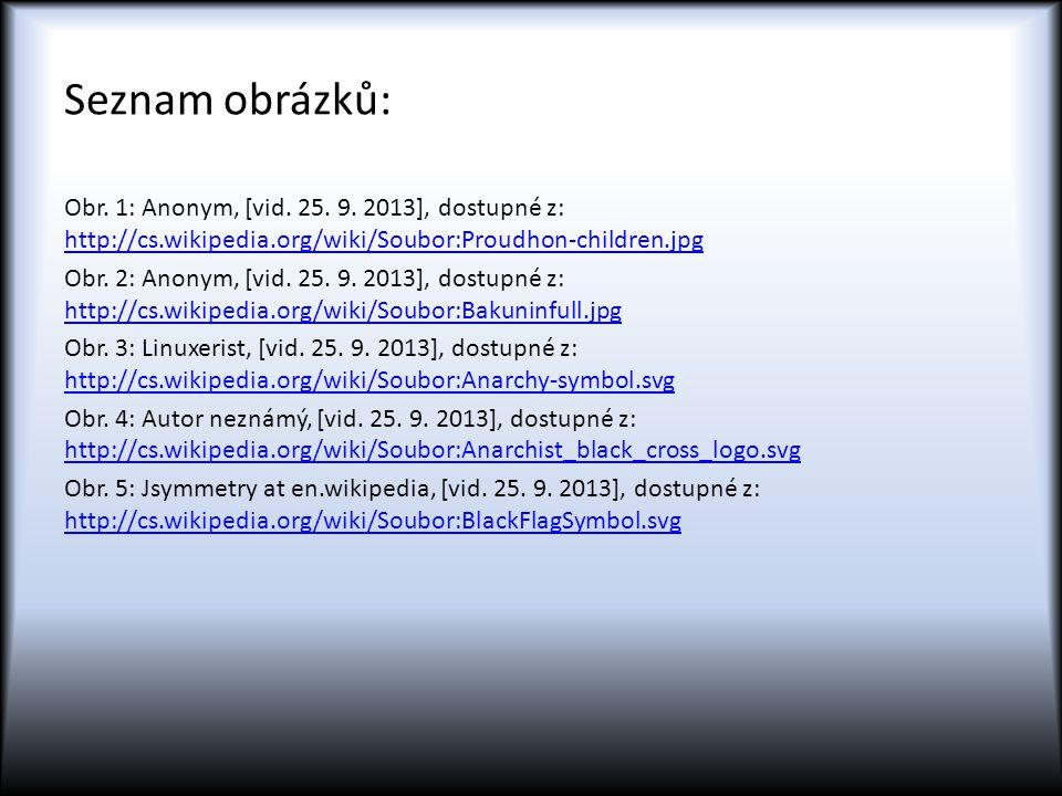 Seznam obrázků: Obr. 1: Anonym, [vid. 25. 9. 2013], dostupné z: http://cs.wikipedia.org/wiki/Soubor:Proudhon-children.jpg.